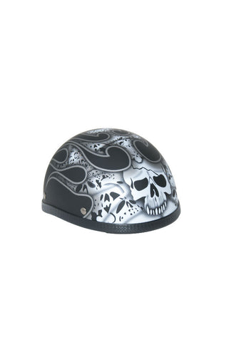 Novelty Eagle Silver Skull & Flames/Flat Black - Non- DOT