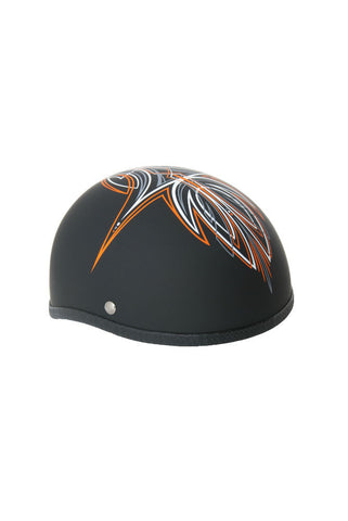 Novelty Skull Cap Orange Perewitz/Flat Black - Non DOT