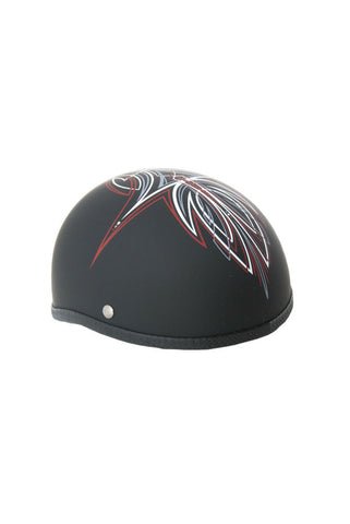 Novelty Skull Cap Red Perewitz/Flat Black - Non DOT