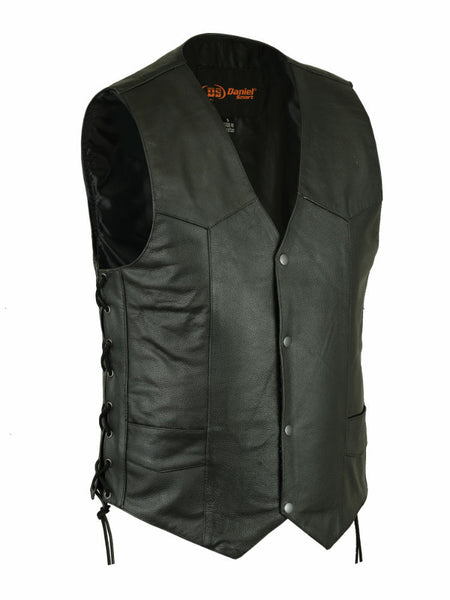 Traditional V-Neck Snap Front Black Leather Vest with Side Laces