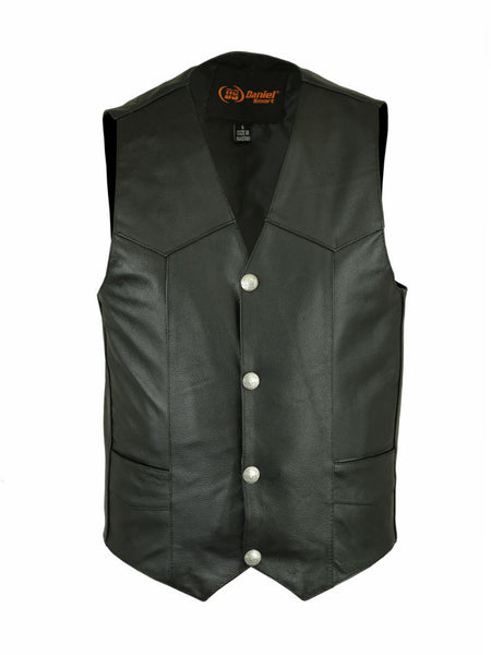 V-Neck Black Leather Vest with Antique Snap Front