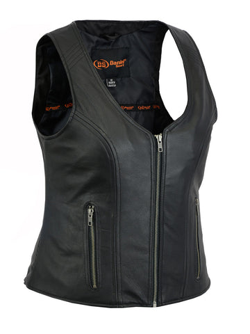 Open Neck Black Leather Vest with Zipper Front