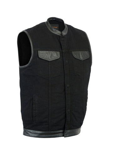 Black Denim Scoop Collar Vest with Leather Trim