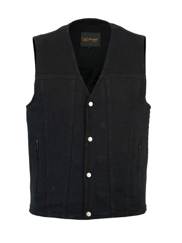 Black Denim V-Neck Vest with Antique Snap Front