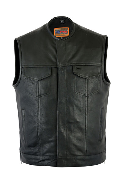 Upgraded Collarless Black Leather Vest with Hidden Gun Metal Zipper