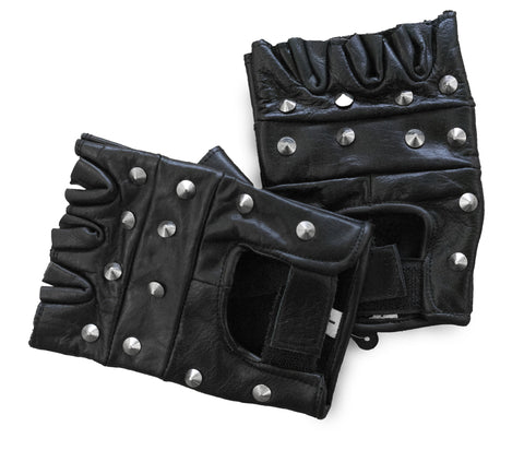 Studded Fingerless Motorcycle Gloves