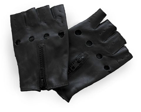 Zippered Fingerless Motorcycle Gloves