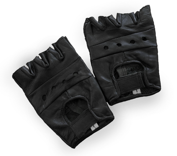 Perforated Fingerless Motorcycle Gloves