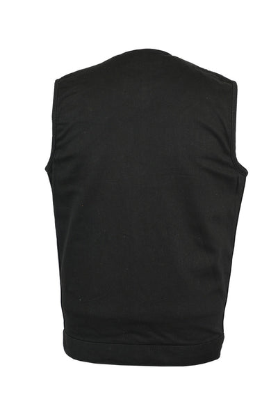 Black Denim Collarless Vest with Concealed Snaps