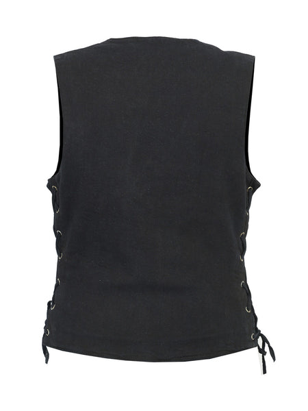 Black Denim V-Neck Vest with Side Laces