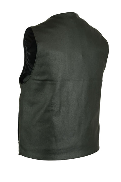 V-Neck Black Leather Vest with Buffalo Nickel Head Snaps