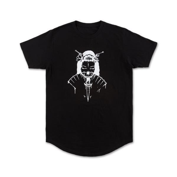 Geisha Scallop Tee in Black