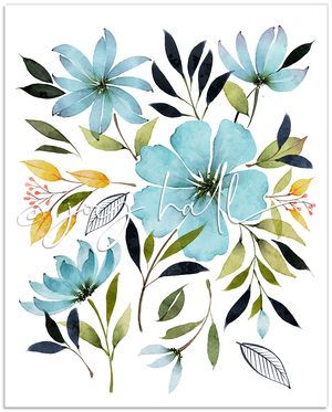 Shades of Blue Botanical Print