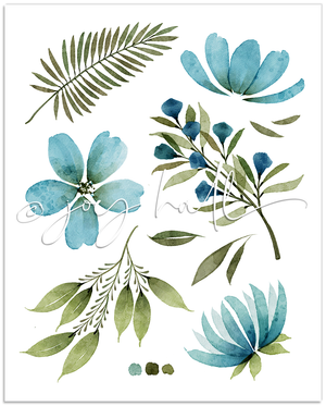 Load image into Gallery viewer, Teal Botanical Print
