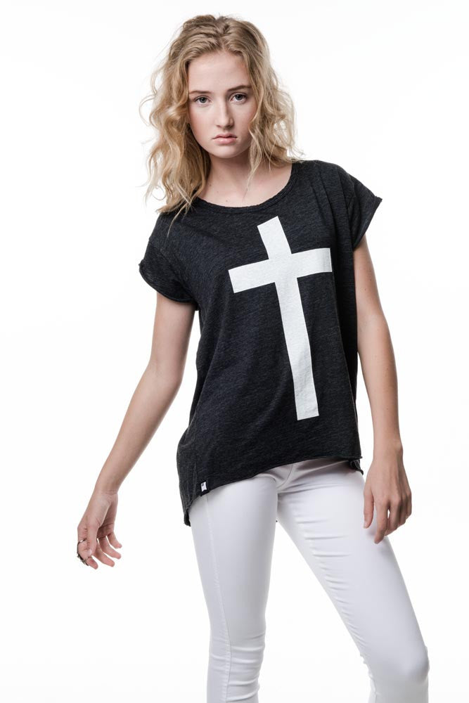 Womens Heather Black Cross
