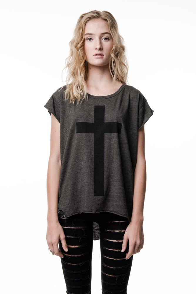 Womens Heather Green Cross