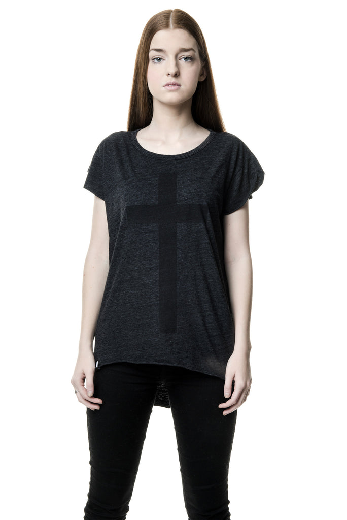 Womens Black Cross on Heather Black