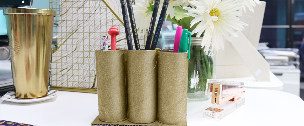 Get Organized | DIY Toilet Paper Tube Desk Organizer