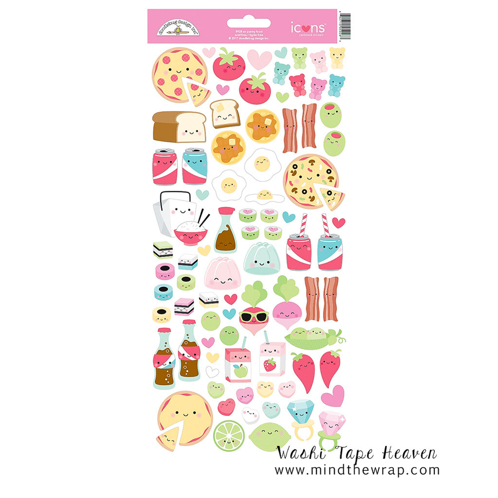 Doodlebug food stickers so punny icons hearts pizza bacon sushi take