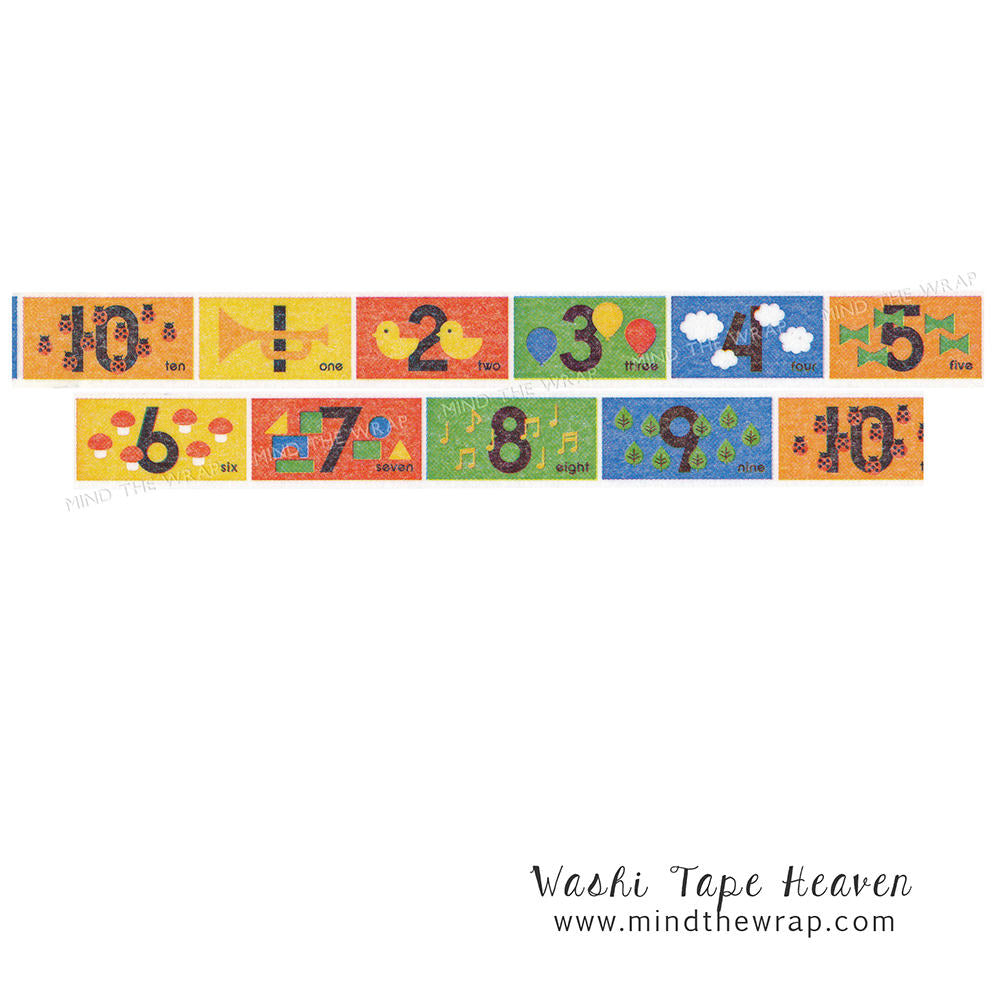 mt kids numbers japanese washi tape 15mm x 7m bright primary