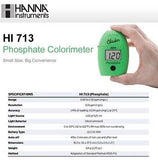 Combo Pack! Hanna HI 713 Phosphate Photometer HI713 - 100 Extra Reagents (HI713-25)