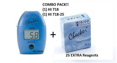 Hanna HI 718 Checker HC Iodine Meter Photometer + HI718-25 (25) Reagents, Combo Pack!
