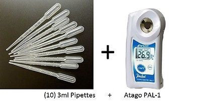 Atago PAL-1 Digital 0-53% Brix Refractometer 32 + (10) 3ml Pipettes