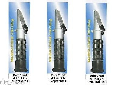 Laminated Refractometer Brix Chart 4 Fruits Vegetables