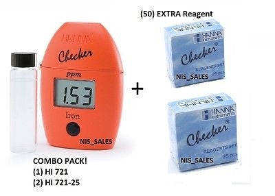 $60.50 Hanna HI 721 Checker HC Iron Photometer HI721 + (50) HI721-25 Reagents, Combo Pack!