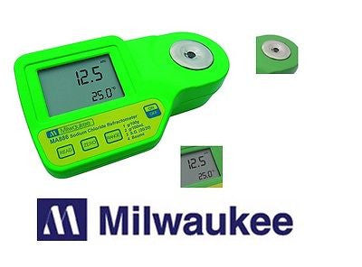 $110.00 MILWAUKEE INSTRUMENTS Digital Refractometer MA887 w/ Calibration Fluid for Seawater Measurements