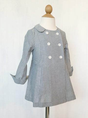 Striped dress trench coat - Blue