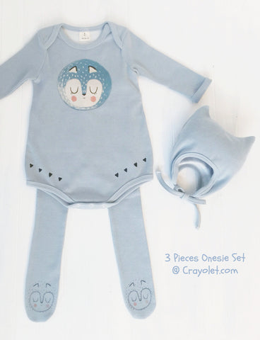3 pieces romper set - Light blue