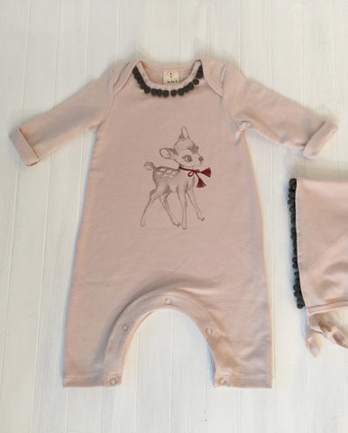 Romper set with Bambi graphic - Pink
