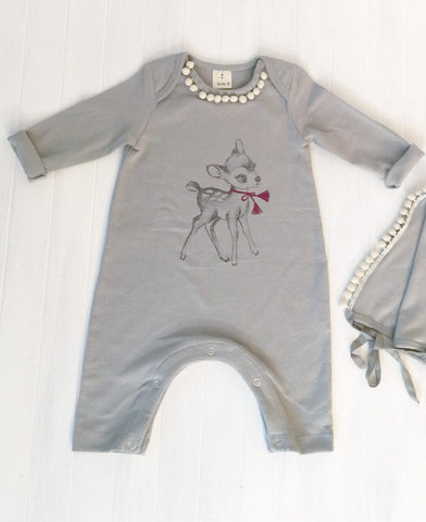 Romper set with Bambi Graphic - Blue grey