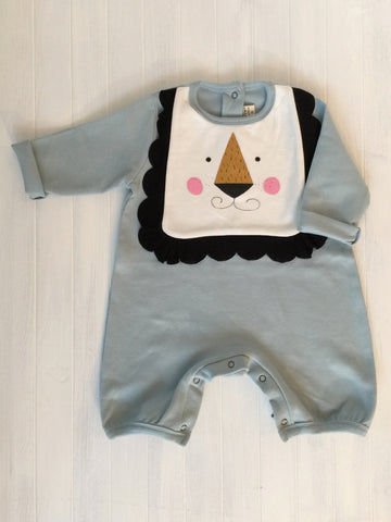Romper with lion bib