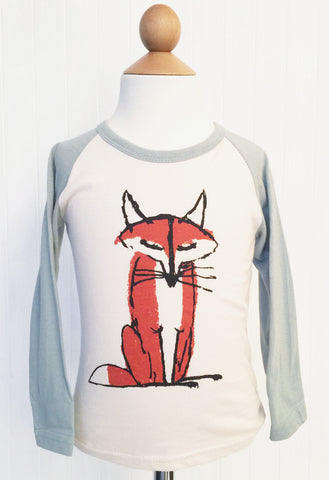 Raglan top with fox graphic - 2 colours