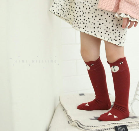 Adorable bear knee high socks - Red