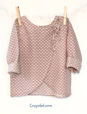 Wrap Blouse - Blue / Pink