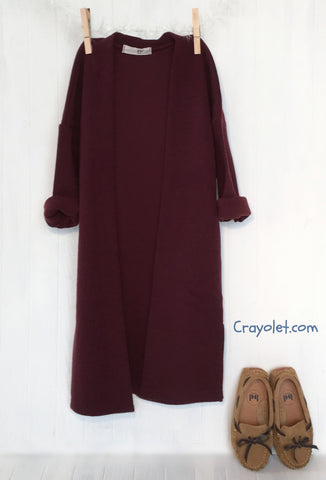 Chic long cardigan - Burgundy