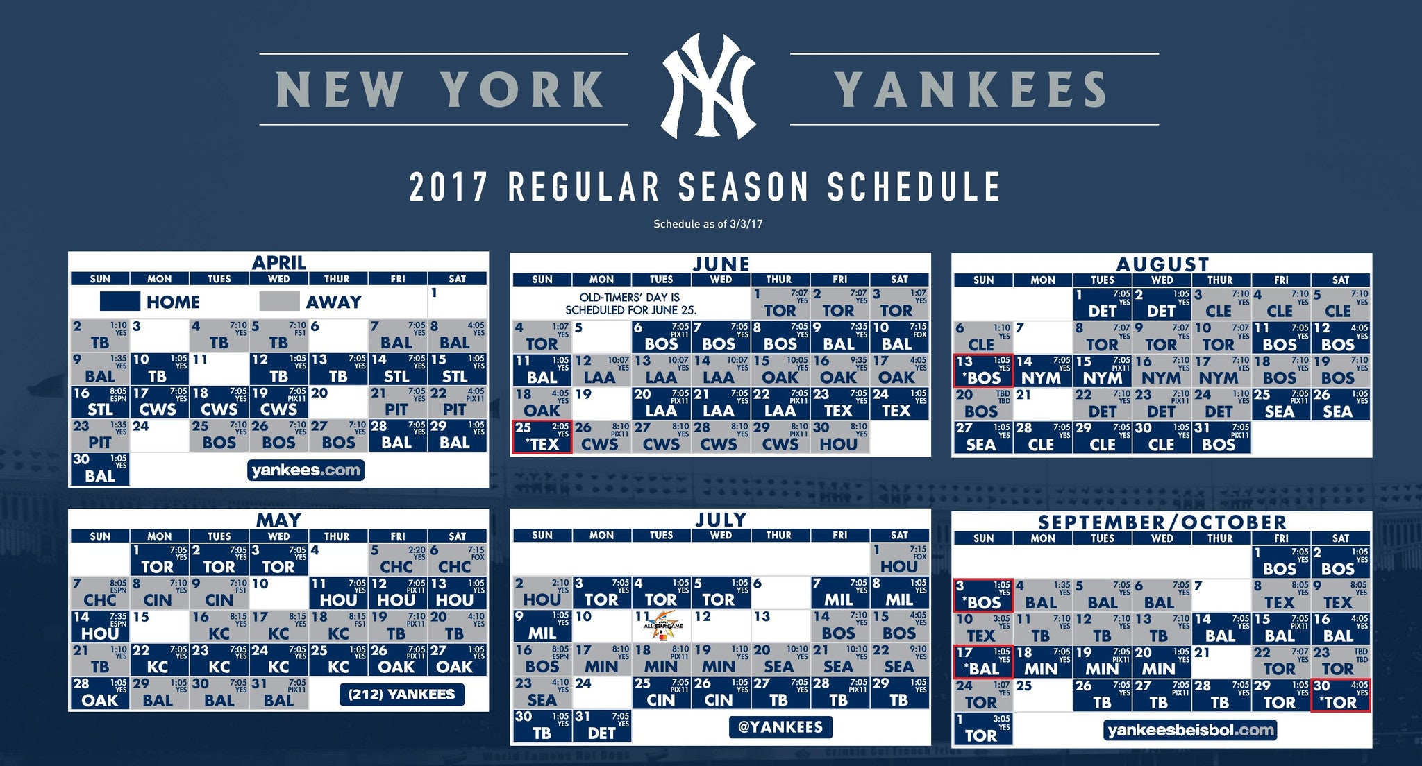 new york yankees season spielplan