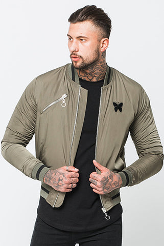 Good For Nothing Varsity Khaki Bomber Jacket