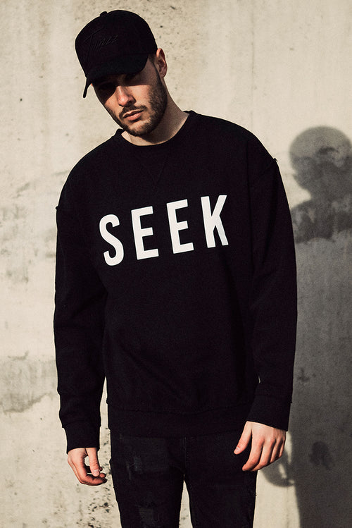 SEEK Oversized Open Edge Sweatshirt Black