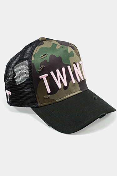 TWINZZ Ripped and Repaired Trucker Camouflage Pink