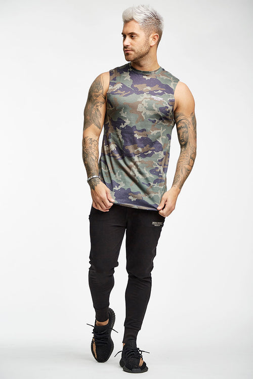Muscle Monkey Only The Strong Survive Cut Off T-Shirt Camouflage