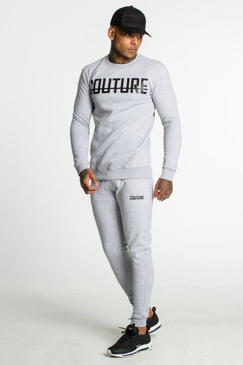 Fresh Couture Fitted Fleece Crew Sweatshirt Grey