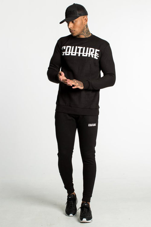 Fresh Couture Fitted Fleece Crew Sweatshirt Black