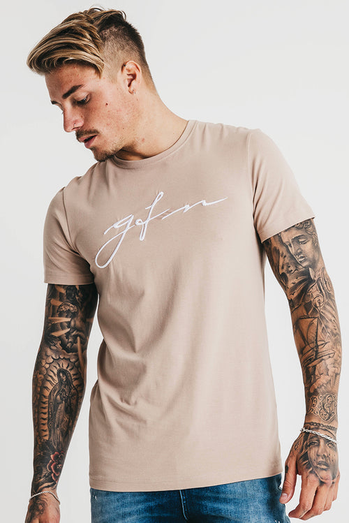 Good For Nothing Hand Written Logo T-Shirt Beige