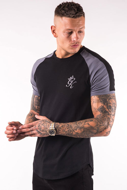 Gym King Longline Retro T-Shirt Black / Dark Grey