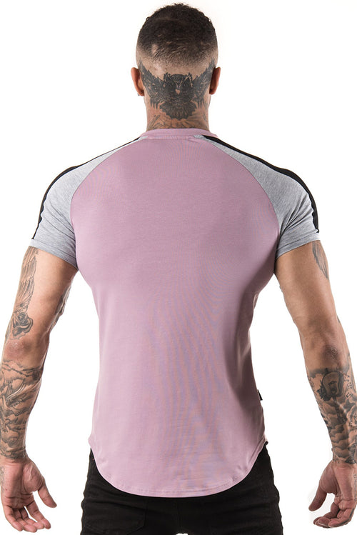 Gym King Longline Retro T-Shirt Elderberry / Grey Marl / Black