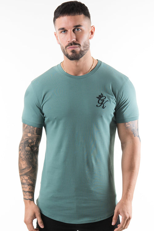 Gym King Longline Fitted T-Shirt Silver Pine